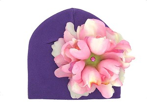 Purple Cotton Hat with Pale Pink Large Peony