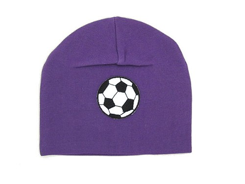 Purple Applique Hat with Soccer Ball