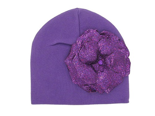 Purple Cotton Hat with Sequins Purple Rose