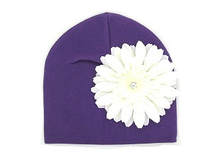 Purple Cotton Hat with White Daisy