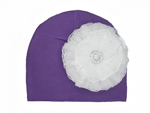 Purple Cotton Hat with White Lace Rose