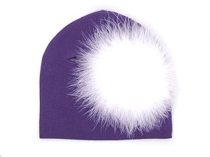 Purple Cotton Hat with White Large regular Marabou