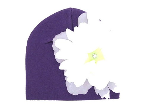 Purple Cotton Hat with White Large Peony