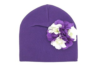 Purple Cotton Hat with White Purple Large Geraniums