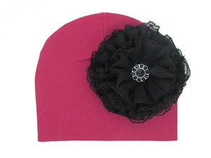 Raspberry Cotton Hat with Black Lace Rose
