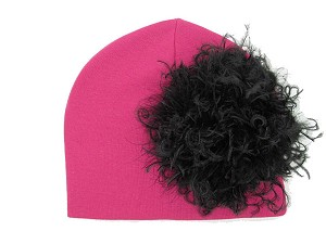 Raspberry Cotton Hat with Black Large Curly Marabou