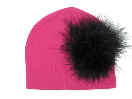Raspberry Cotton Hat with Black Large regular Marabou