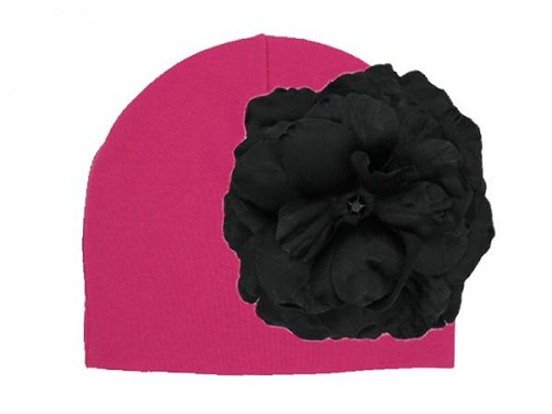 Raspberry Cotton Hat with Black Large Rose