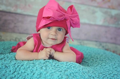 Raspberry Cotton Hat with Candy Pink Bow-Rae-Mi