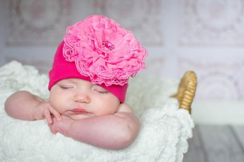 Raspberry Cotton Hat with Candy Pink Lace Rose
