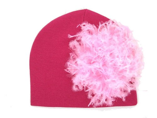 Raspberry Cotton Hat with Candy Pink Large Curly Marabou