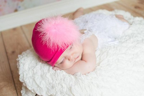 Raspberry Cotton Hat with Candy Pink Large regular Marabou