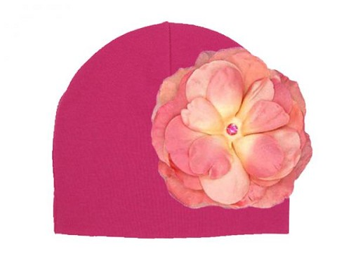 Raspberry Cotton Hat with Candy Pink Large Rose