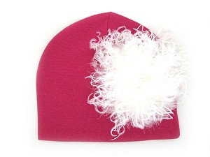 Raspberry Cotton Hat with Cream Large Curly Marabou