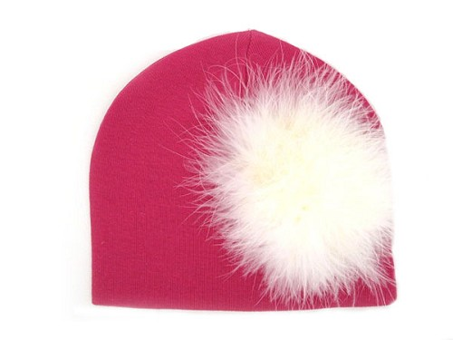 Raspberry Cotton Hat with Cream Large regular Marabou