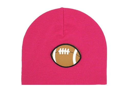 Raspberry Applique Hat with Football