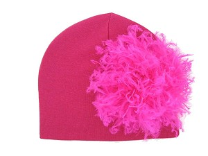 Raspberry Cotton Hat with Hot Pink Large Curly Marabou