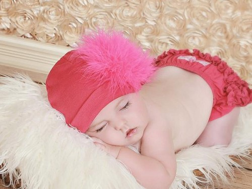 Raspberry Cotton Hat with Hot Pink Large regular Marabou