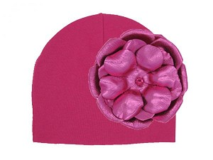 Raspberry Cotton Hat with Metallic Raspberry Rose