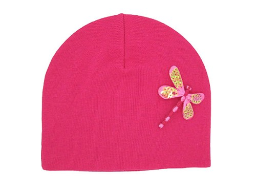 Raspberry Applique Hat with Pink Dragonfly