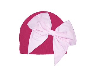 Raspberry Cotton Hat with Pale Pink Bow-Rae-Mi