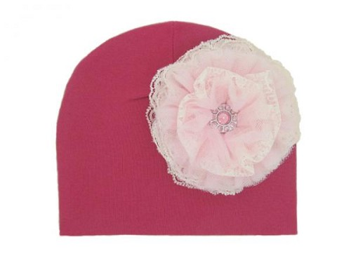 Raspberry Cotton Hat with Pale Pink Lace Rose