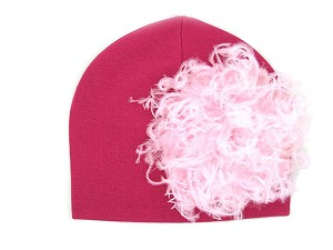 Raspberry Cotton Hat with Pale Pink Large Curly Marabou