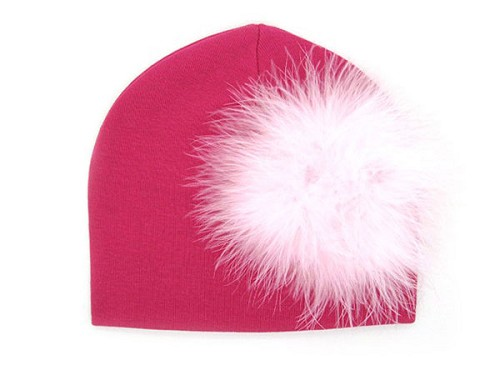 Raspberry Cotton Hat with Pale Pink Large regular Marabou