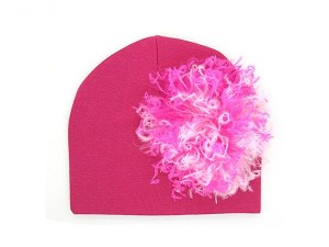 Raspberry Cotton Hat with Pink Raspberry Large Curly Marabou
