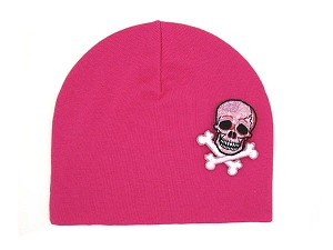 Raspberry Applique Hat with Pink White Skull