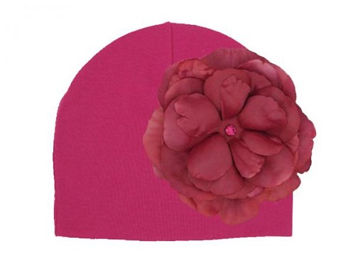 Raspberry Cotton Hat with Raspberry Large Rose