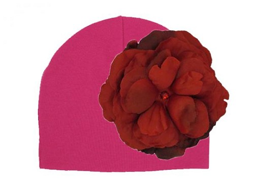 Raspberry Cotton Hat with Red Large Rose