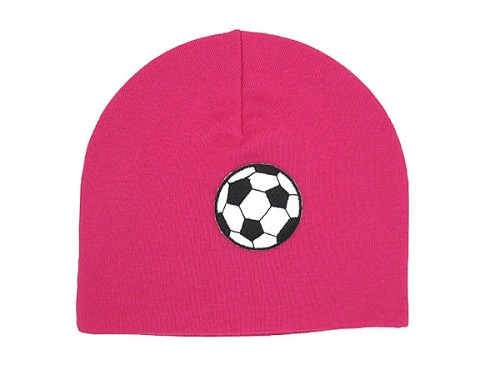Raspberry Applique Hat with Soccer Ball