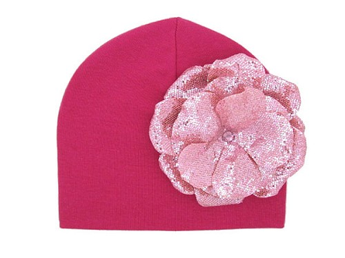 Raspberry Cotton Hat with Sequins Pale Pink Rose