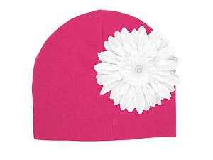 Raspberry Cotton Hat with White Daisy
