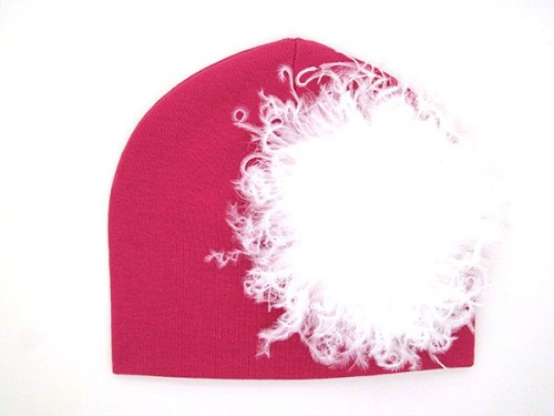 Raspberry Cotton Hat with White Large Curly Marabou