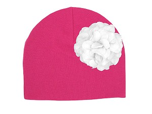 Raspberry Cotton Hat with White Large Geraniums