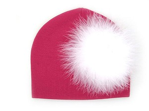 Raspberry Cotton Hat with White Large regular Marabou