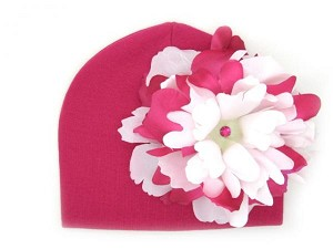Raspberry Cotton Hat with White Raspberry Large Peony