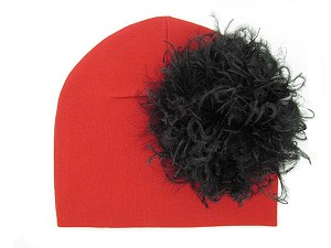 Red Cotton Hat with Black Large Curly Marabou