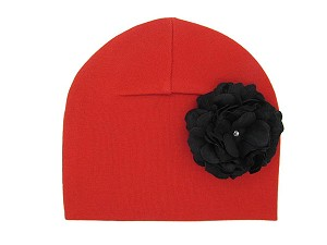 Red Cotton Hat with Black Large Geraniums