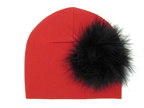 Red Cotton Hat with Black Large regular Marabou