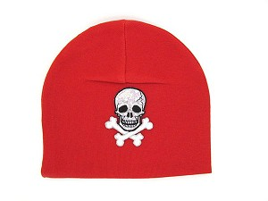 Red Applique Hat with Black Skull