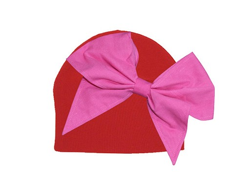 Red Cotton Hat with Candy Pink Bow-Rae-Mi