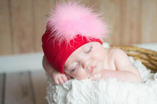 Red Cotton Hat with Candy Pink Large regular Marabou