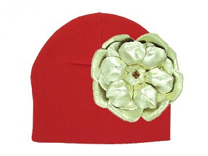 Red Cotton Hat with Metallic Gold Rose