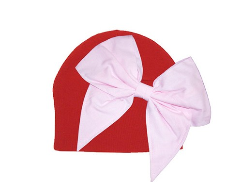 Red Cotton Hat with Pale Pink Bow-Rae-Mi