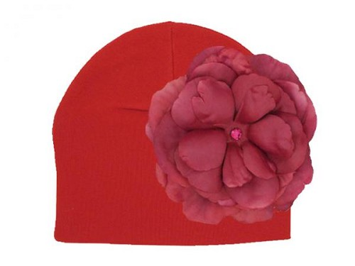 Red Cotton Hat with Raspberry Large Rose