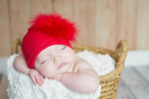 Red Cotton Hat with Red Large regular Marabou