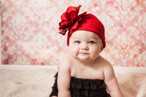 Red Cotton Hat with Red Large Rose